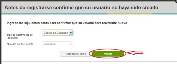 """Registro SOFIA Plus validar usuario nuevo"""