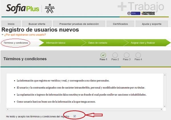 """""""Registro SOFIA Plus. Paso 1. Términos y condiciones"""""""