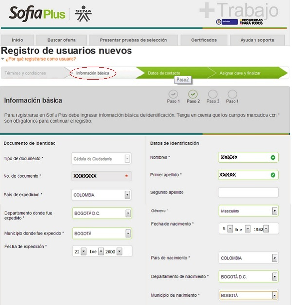 Registro SOFIA Plus. Paso 2